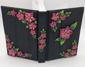 Red Flower Journal; Pointsettia Polymer Clay Journal; Custom Flower Art Journal; Floral Sketchbook; Style No.: REF03