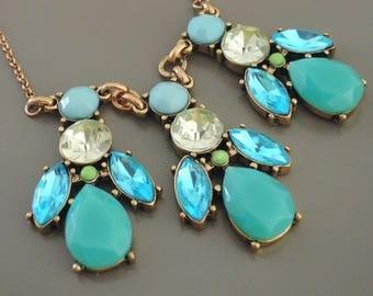 Vintage Inspired Necklace - Turquoise Blue Necklace- Mint Necklace - Crystal Necklace - Brass Necklace - Boho Necklace - Bib Necklace