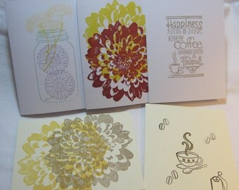 Card, Stationary, Greeting Cards Set, Thank you Note, Flower Note Card, Blank Inside Note Card, Friendship Card, Thankyou, Handmade Card C10