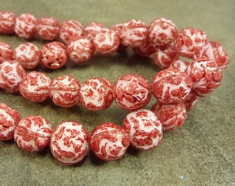 Red/White 9mm Czech Pressed Glass Rosebud Round Beads Flower 10pc