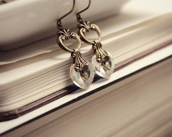 Brass & Swarovski Earrings - Rainbow - Heart - Victorian - Fantasy Winter Wedding - Bridal - Holidays - December - Christmas