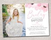 Baptism invitation, blessing invitation, modern baptism invitation, printable blessing invitation, boy, girl  (Pink Flower)