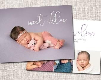 Birth announcement, baby boy announcement, baby girl announcement, baby announcement, modern birth announcement, printable (Meet Chloe)