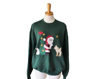 50% half off sale // Vintage Ugly Christmas Sweater - Green Novelty Santa Iron On Sweatshirt Women Men L