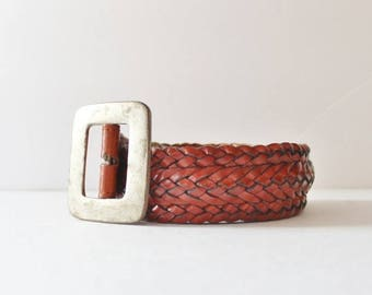 60% off sale // Vintage 80s Wide Woven Leather Belt - Medium Women - Timberland