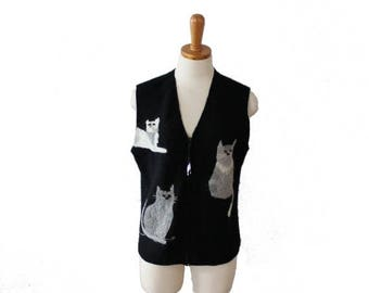 60% off sale // Vintage 90s Cats and Yarn Embroidered Black Wool Vest - Ladies Small, primitive design, folk art style