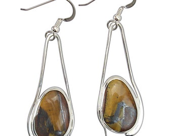 Tigers Eye and Sterling Silver Earrings  etgre2574