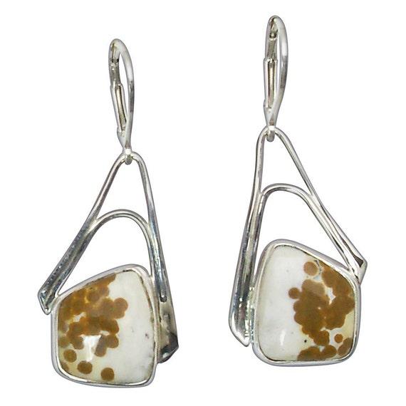 Ocean Jasper and Sterling Silver Dangle Earrings eocje2763