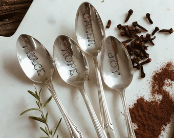 Set of Four Christmas Hand Stamped Vintage Spoons