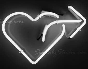 Neon Love : heart dark valentine romantic photo image photograph monochrome black white gray sign home decor 8x12 12x18 16x24 20x30 24x36