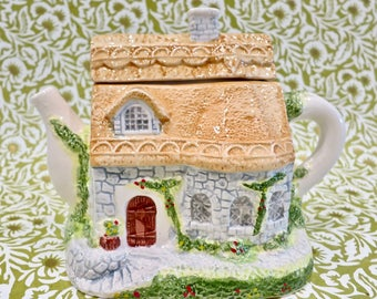 Vintage 1990s English Cottage with Thatched Roof Decorative Ceramic Teapot