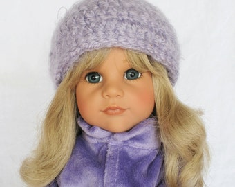 Violet Hand Crocheted 18 Inch American Doll Cap Hat