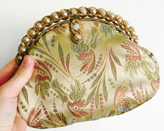 Vintage Bejeweled Purse/Silk Damask embroidery/Evening Bag