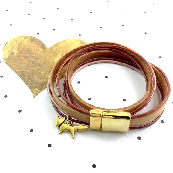 Leather, magnetic, gold magnet, bracelet, gold fox, charm, brown, old pink leather, choker necklace, magnet, les perles rares