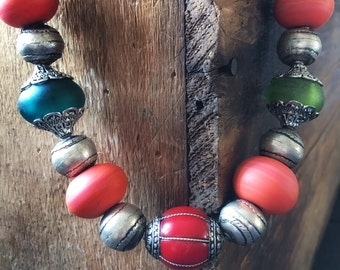 Statement Necklace, Tibetan, African , Thailand , Handmade Beads,  Colourful Necklace, Unique Necklace, Bold Necklace, Chunky Necklace