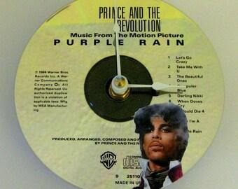 CD clock. Prince. Prince clock. Recycled CD. Purple Rain. Music clock. Rock clock.