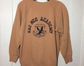 1950s SAC NCO Academy US Military Air Force eagle crest Logo Sweatshirt looks size Medium light brown distressed destroyed usaf