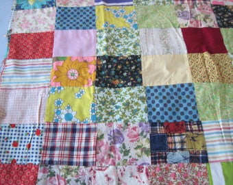 Vintage 1970s patchwork Quilt top for doll bed