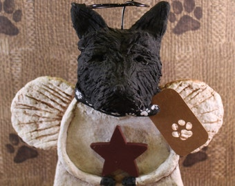 Scottish Terrier Angel, OOAK, hand-sculpted from  papier mache, SCOTTIE ANGEL