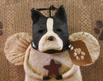 Boston Terrier Angel, OOAK, handmade from papier mache, BOSTON ANGEL