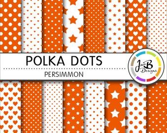 Polka Dots Digital Paper, Persimmon, Orange, Dots, Hearts, Stars, Digital Paper, Digital Download, Scrapbook Paper, Digital Paper Pack