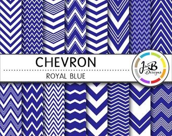 Chevron Digital Paper, Royal Blue, Blue, White, Chevron, Zig Zag, Digital Paper, Digital Download, Scrapbook Paper, Digital Paper Pack