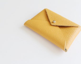 Yellow Leather Envelope Pouch / Business Card Holder / Mini Wallet / Card Case / Gifts for Him or Her