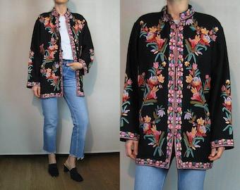 70s 80s Black Floral EMBROIDERED Kimono Jacket
