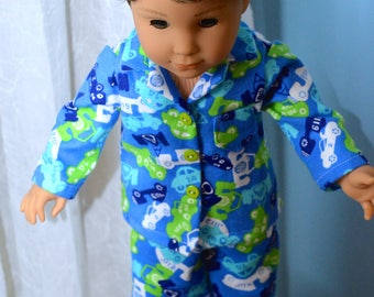18 Inch Boy Doll Two Piece Racecar Print Flannel Pajama Set by SEWSWEETDAISY