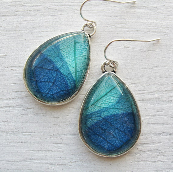 Real Botanical Earrings - Teal and Blue Silver Teardrop Pressed Leaf Earrings