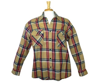 L Rugged Tall Vintage 1960's Men's Plaid Flannel Shirt, Large Tall