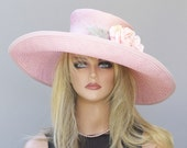 Kentucky Derby Hat, Wedding Hat, Wide Brim Pink Hat, Church Hat, Ascot Race Hat, Pink Hat, Hat and Pink Flower, Formal Straw Hat, Dressy Hat