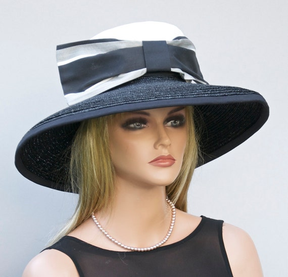 Hat Sale. Black and White Hat, Audrey Hepburn hat, Wedding Hat, Derby Hat, Ascot Hat, Horse Race Hat, Elegant hat, formal hat, Dressy Hat