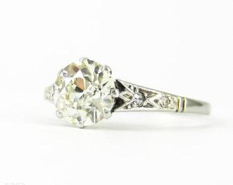 Old European Cut Diamond Engagement Ring, 1.33 ctw Engagement Ring in PLAT Filigree Setting. Art Deco, Circa 1920s.