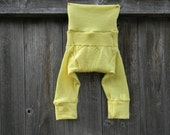 SMALL Upcycled Merino Wool Leggings Longies Soaker Cover Diaper Cover With Added Doubler Sunny Yellow 3-6M Kidsgogreen