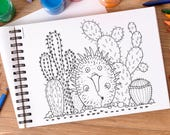 Digital Printable Echidna Cactus Aussie Colouring Book Page (adult coloring book, coloring pages, printable coloring pages, colouring, ants)