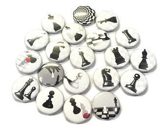 "Chess, 1"", 1.25"", 1.5"", Button, Chess Decor, Chess Theme, Chess Pin, Chess Party Favor, Chess Badge, Chess Piece, Chess Flatback, Chess Game"