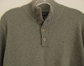 Men's Sage Green Sweater Cashmere Lambswool 38-40 Medium High Neck Infantry Army Sweater Button Neck Collar 90s Vintage Lands End