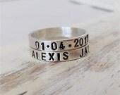 Name Stacking ring Sterling Silver Custom Name. Stacking rings. Birthstone rings. Gift for her. Custom name. Personalized name. Gift for mom