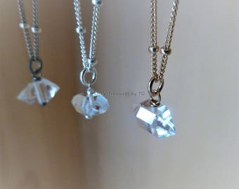 Raw Herkimer Diamond necklace in 14k Gold filled, Sterling Silver or Oxidized Silver, Birthstone, April Birthstone, Raw stone, Diamond