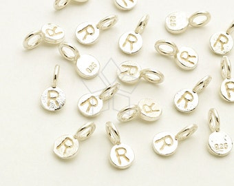 IN-605-SS / 2 Pcs - Tiny Initial Circle Charm, Mini Letter Charm, Initial Tag, Upper case R, 925 Sterling Silver / 3mm