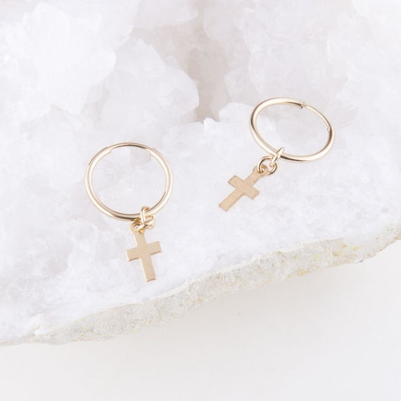 Tiny Cross Hoops Gold Cross Hoop Earrings Gift for Her