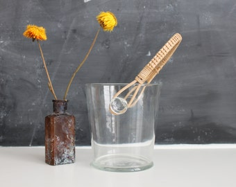 Mid Century Glass Ice Bucket with Wicker Handle | Retro Ice Bucket | Vintage Ice Bucket | Vintage Barware