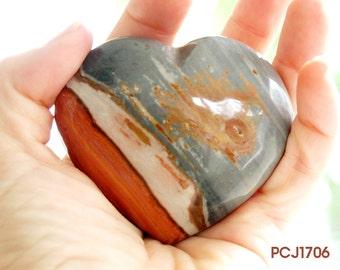 Polychrome Jasper Heart | Polychrome Jasper Stone Heart | Gift for Him | Madagascar Jasper Heart