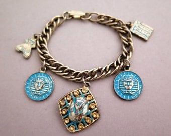 Vintage Egyptian Charm Bracelet Silver Tone