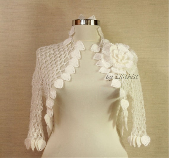 Wedding Shrug, White Crochet Shrug, Bridal Shrug Bolero, Wedding Bolero, Bridal Cape, Cover Up, Bridal Lace Bolero, Bridesmaid Bolero S-M-L