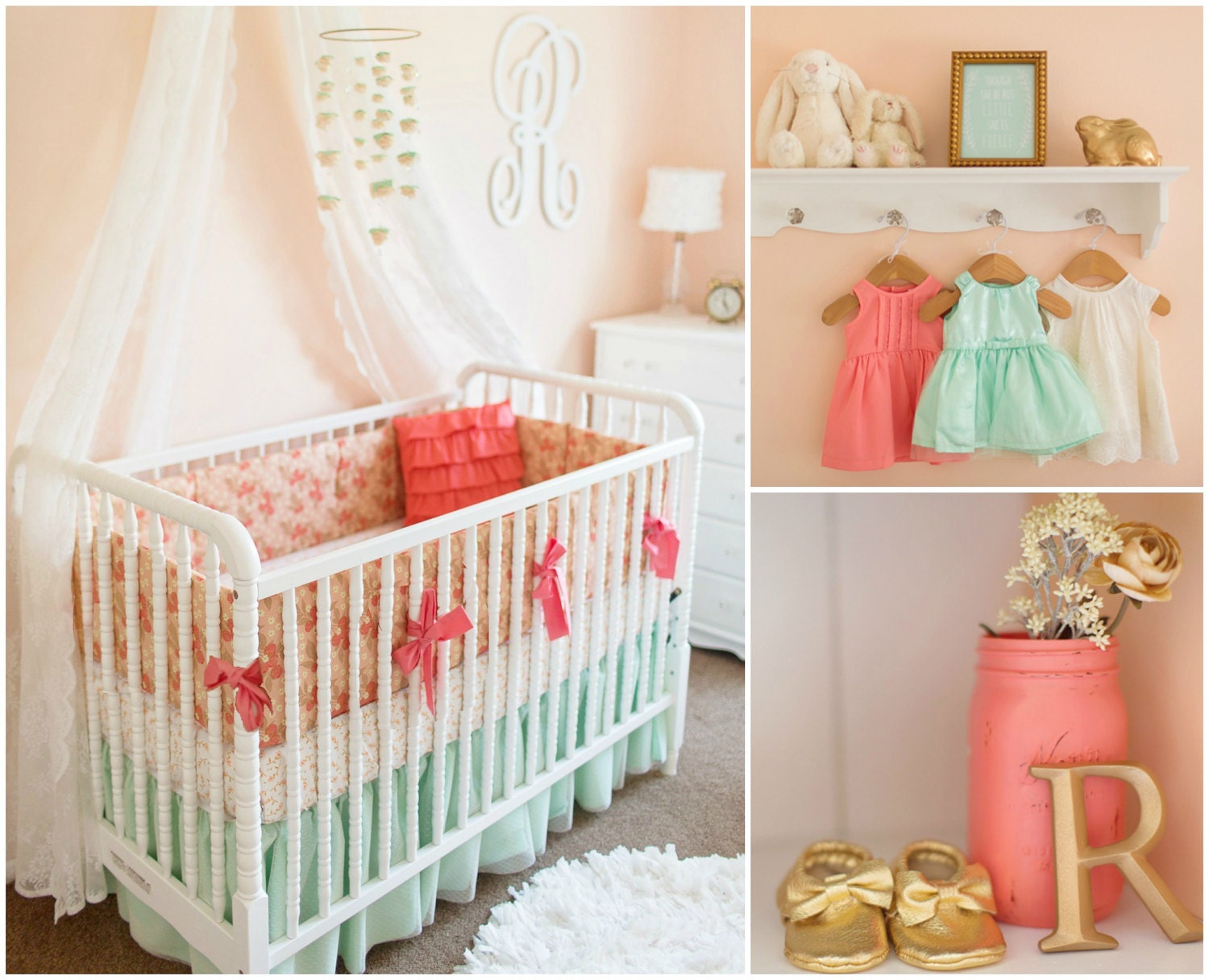 Mint And Coral Crib Bedding Mint And Peach Baby Girl Bedding