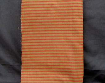Primitive Homespun Fabric -Brown with Red Lines - Craft Fabric - Sewing Fabric (1 Yard)