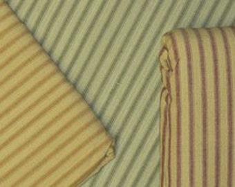 1 Yard Each of Homespun Ticking (Red Stripe, Green Stripe, Mustard Stripe)