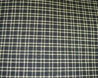 Primitive Black/White Plaid Homespun Fabric - Craft Supplies-Sewing Quilt Fabric